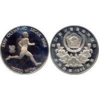 Corea del Sur - 10000 Won de Plata 1986