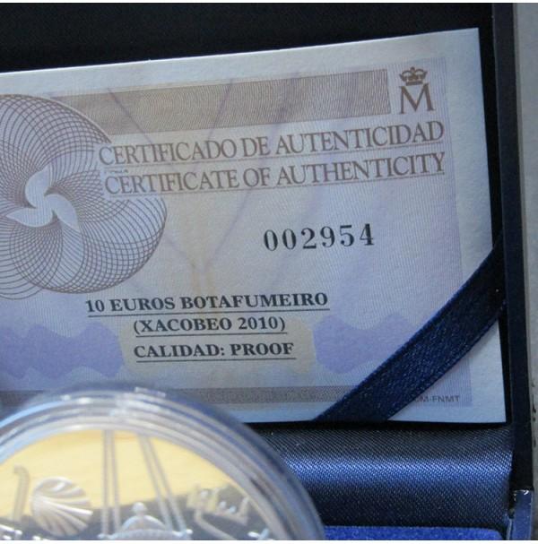 España - 10 euros 2010 - Plata. Xacobeo: Botafumerio