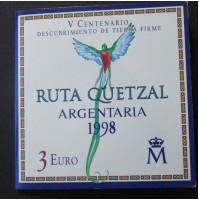España - 3 euros 1998 - Ruta Quetzal