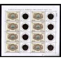 Lote de 16 sellos  de correo (8+8) de 2€ de 2014 - Billete y  moneda de 1 Peseta