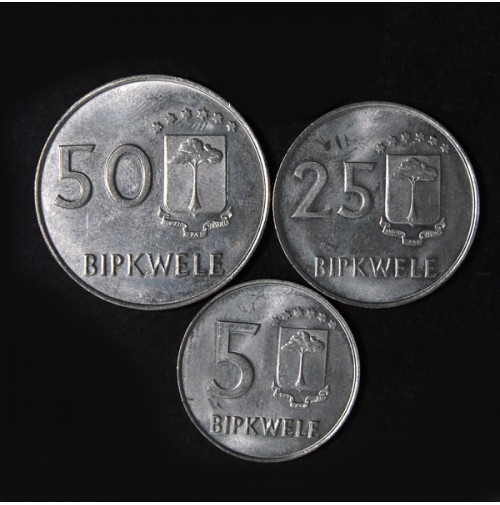 Guinea Ecuatorial - Serie 5, 25, 50 Bipkwele 1980